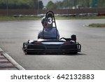 man drive go kart on track back ... | Shutterstock . vector #642132883