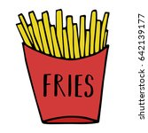 golden french fries in red... | Shutterstock .eps vector #642139177
