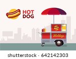 hot dog street cart. fast food... | Shutterstock .eps vector #642142303
