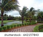 flooding in a field of grass... | Shutterstock . vector #642157843