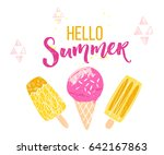 hello summer text with brush... | Shutterstock .eps vector #642167863