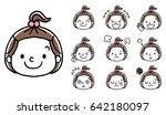 facial expression of girls  set ... | Shutterstock .eps vector #642180097