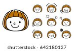 facial expression of girls  set ... | Shutterstock .eps vector #642180127