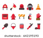 fire safety equipment emergency ... | Shutterstock .eps vector #642195193