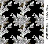 golden mehndi seamless pattern. ... | Shutterstock . vector #642224017