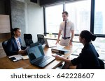 businesspeople with leader... | Shutterstock . vector #642228607