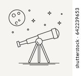 thin line design of telescope... | Shutterstock .eps vector #642239653