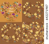 brown vintage cards with floral ... | Shutterstock . vector #642271987