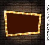 gold frame with light bulbs on... | Shutterstock . vector #642277597