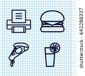 set of 4 solid outline icons...