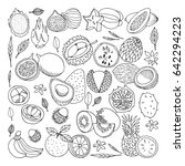 tropical fruits set. hand drawn ...   Shutterstock .eps vector #642294223