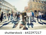 crowd of anonymous people... | Shutterstock . vector #642297217