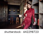 woman brunette hair wear... | Shutterstock . vector #642298723