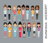 cartoon woman differents... | Shutterstock .eps vector #642303397