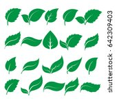 set of green leaf icons  on... | Shutterstock .eps vector #642309403
