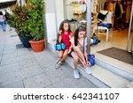 two adorable kid girls having...   Shutterstock . vector #642341107