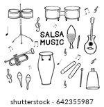 set of hand drawn salsa musical ...   Shutterstock .eps vector #642355987