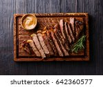 sliced grilled well done... | Shutterstock . vector #642360577
