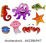 sea animals on a white... | Shutterstock . vector #642386947