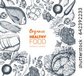 healthy food frame vector... | Shutterstock .eps vector #642392233