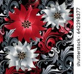 floral baroque seamless pattern.... | Shutterstock .eps vector #642398377