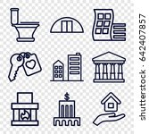 house icons set. set of 9 house ... | Shutterstock .eps vector #642407857