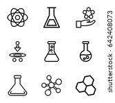 scientific icons set. set of 9... | Shutterstock .eps vector #642408073