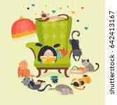 girl reading book to cats | Shutterstock .eps vector #642413167