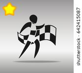 athletics with flag black icon ... | Shutterstock .eps vector #642415087