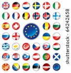 glossy button flags   europe.... | Shutterstock . vector #64242658