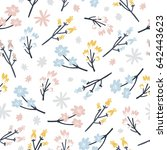 vector flowers and branches ... | Shutterstock .eps vector #642443623