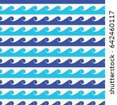 blue waves seamless background. ... | Shutterstock . vector #642460117