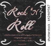 font hand drawn vector script... | Shutterstock .eps vector #642469567