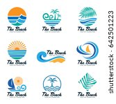the beach logo with sea wave  ... | Shutterstock .eps vector #642501223