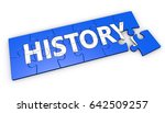 history sign and text on blue... | Shutterstock . vector #642509257