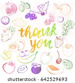 thank you lettering with fruits ... | Shutterstock .eps vector #642529693