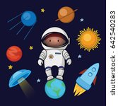 little boy spaceman in space ... | Shutterstock .eps vector #642540283