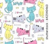 Seamless Cute Cat Pattern...