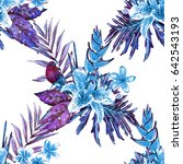 seamless tropical floral... | Shutterstock . vector #642543193
