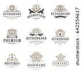 luxury monogram logos templates ... | Shutterstock .eps vector #642554617