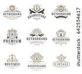 luxury monogram logos templates ... | Shutterstock .eps vector #642554617