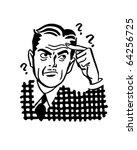 thinking man   retro clipart... | Shutterstock .eps vector #64256725