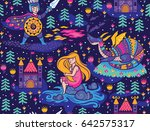 seamless pattern with knight ... | Shutterstock .eps vector #642575317