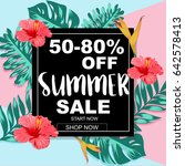 summer sale banner with... | Shutterstock .eps vector #642578413