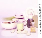 spa still life with stacked of... | Shutterstock . vector #642613213