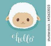 Cute Sheep Lamb Head. Hand...
