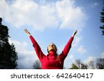 smiling young sport woman in... | Shutterstock . vector #642640417