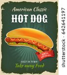 retro fast food hot dog poster  ... | Shutterstock .eps vector #642641197