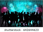dancing people silhouettes.... | Shutterstock .eps vector #642644623