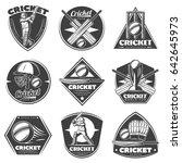 monochrome vintage cricket... | Shutterstock .eps vector #642645973